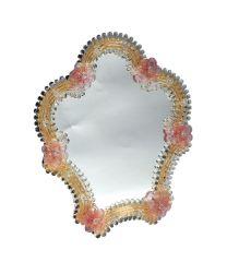 Specchio in vetro di Murano Roseto rosa