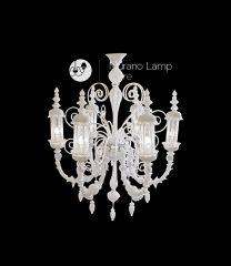 Lampadario Tempio biancolatte cristallo